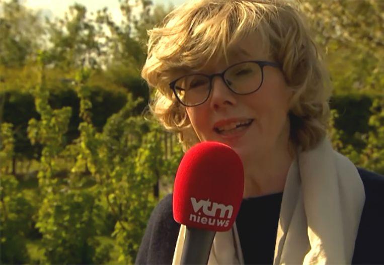 Veerle Heeren voor de camera van 'VTM Nieuws'. Beeld VTM NIEUWS