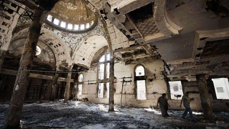 Een koptische verwoeste kerk in Egypte. Beeld AFP