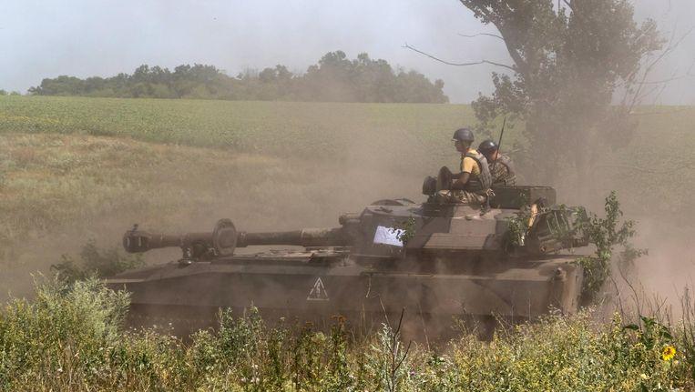 Soldaten in Donetsk in Oost-Oekraïne op 8 augustus 2017. Beeld EPA