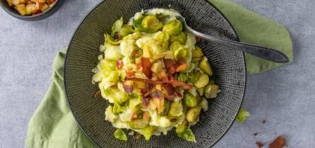 Wat Eten We Vandaag: Spruitjesstamppot met appel en bacon