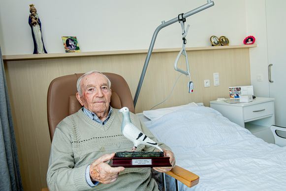 Michaël Deneir in zijn nieuwe kamer, met een beeldje van een van zijn vroegere duiven.