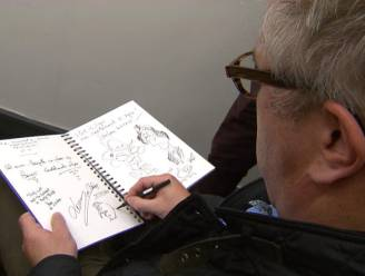 Prins Laurent tekent cartoon van zichzelf