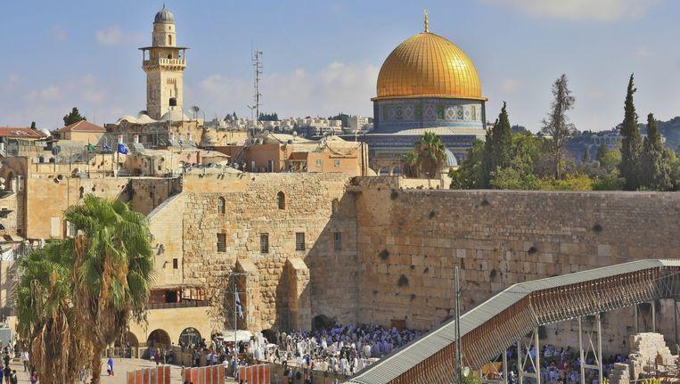 De Tempelberg, met de al-Aqsa moskee en de Klaagmuur Beeld thinkstock