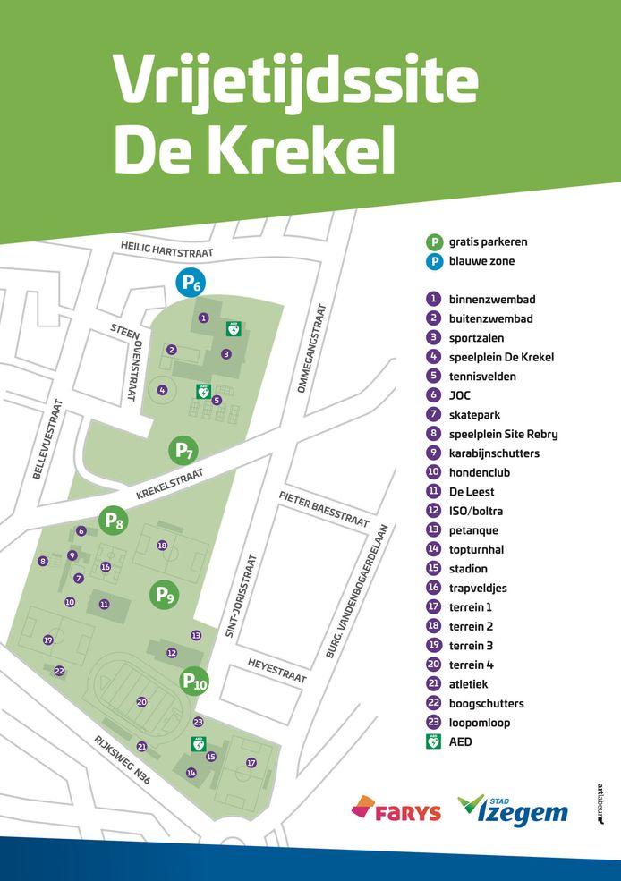 Een plannetje van de parkings in Izegem.