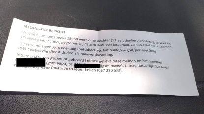 Ouders en politie op zoek naar mogelijke kinderlokker in Vlamertinge