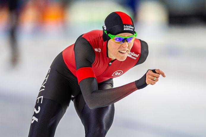 Jorien ter Mors wint met overmacht de 1500 meter tijdens de Worldcup Kwalificaties in Heerenveen.