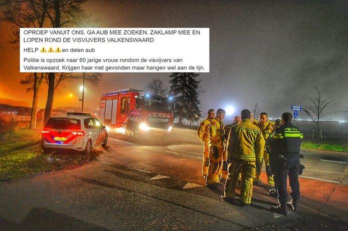 Hulpdiensten zochten naar de vermiste vrouw in Valkenswaard. Inzet: de oproep gewraakte op sociale media om mee te helpen.