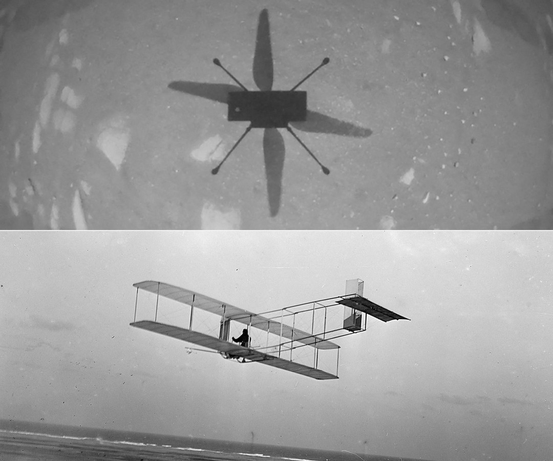 De historische vlucht boven Mars wordt vergeleken met de eerste gemotoriseerde vlucht boven de aarde.