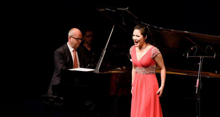 Yajie Zhang dinsdag in Den Bosch. Beeld rv