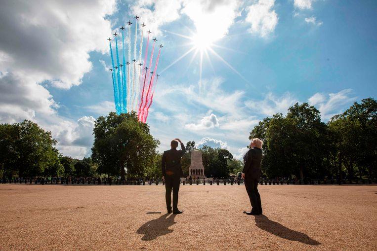 Macron bij Brits premier Boris Johnson tijdens een staatsbezoek aan Londen, op 18 juni.  Beeld AFP