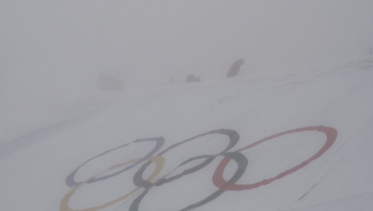 Mist op de plek waar de kwalificaties in het snowboardcross zouden zijn vandaag. Beeld reuters