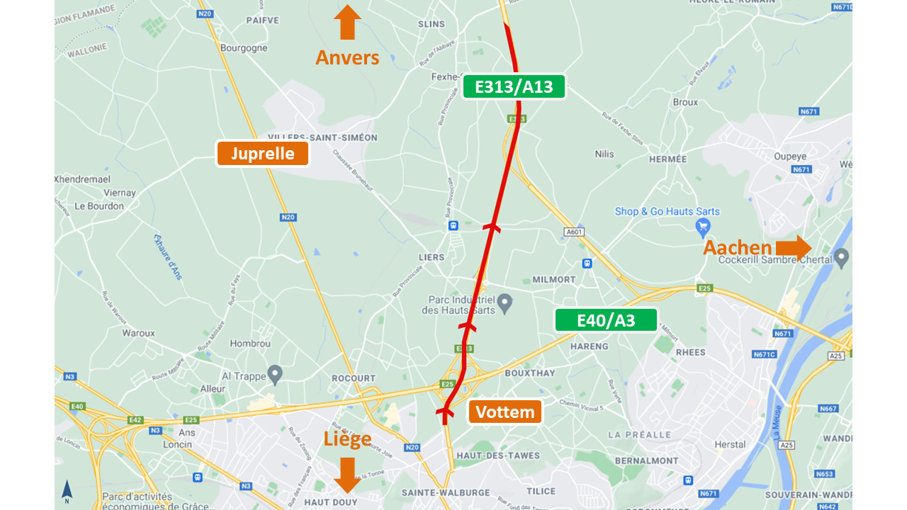 Travaux sur l'E313/A13 entre Vottem et Juprelle vers Anvers.