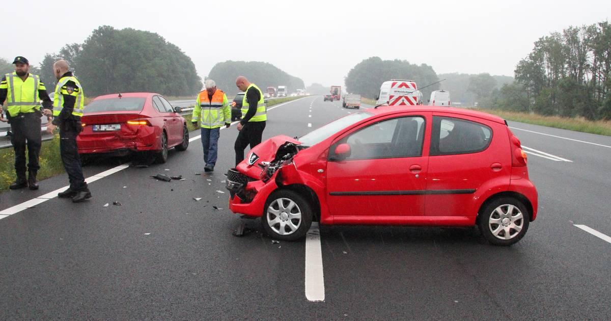 Overstekende ganzen veroorzaken ongeluk met twee autos op A1 bij Rijssen.