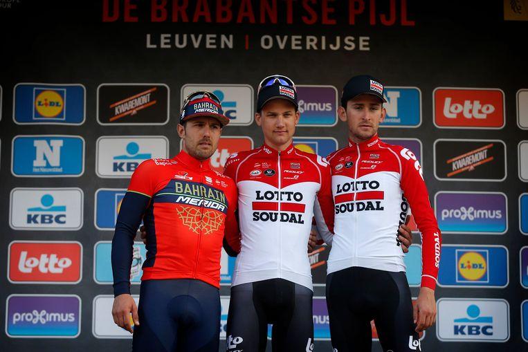Het podium van vorig jaar met Colbrelli, Wellens en Benoot.