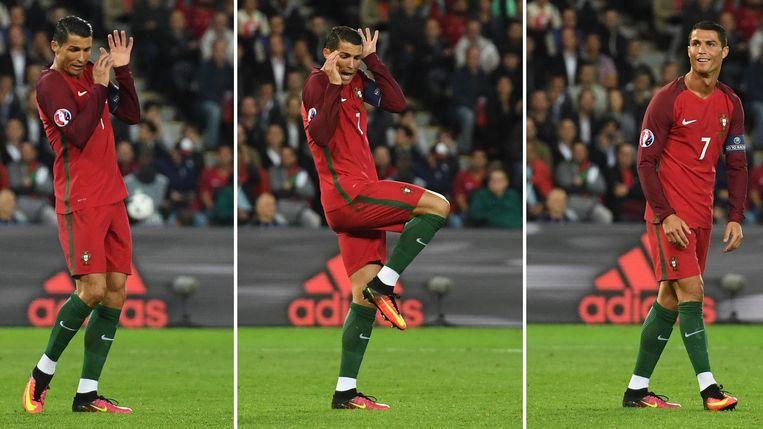 Cristiano Ronaldo tijdens de wedstrijd tegen Oostenrijk. Beeld afp