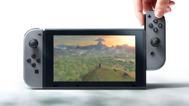 De Nintendo Switch, een tablet met afneembare afstandsbediening.  Beeld Nintendo