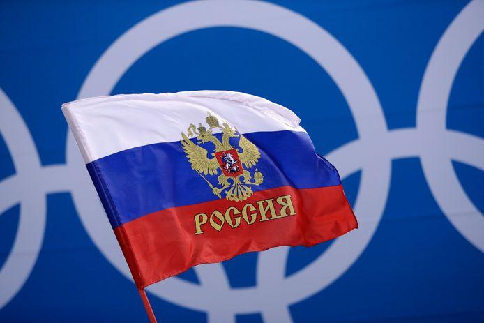 De Russische vlag mag op de Spelen in Tokio 2021 niet wapperen.