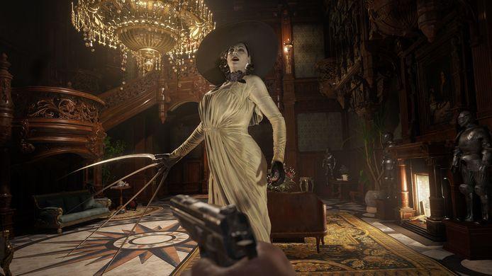 De populierlange dame Dimitrescu is een van de grotere griezels die je te lijf gaan in 'Resident Evil Village'.