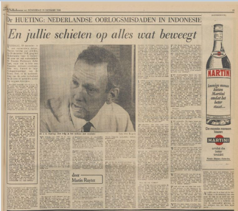 Interview met Joop Hueting in de Volkskrant van 19 december 1968, waarin Hueting sprak over de oorlogsmisdaden in Indonesië.  Beeld de Volkskrant