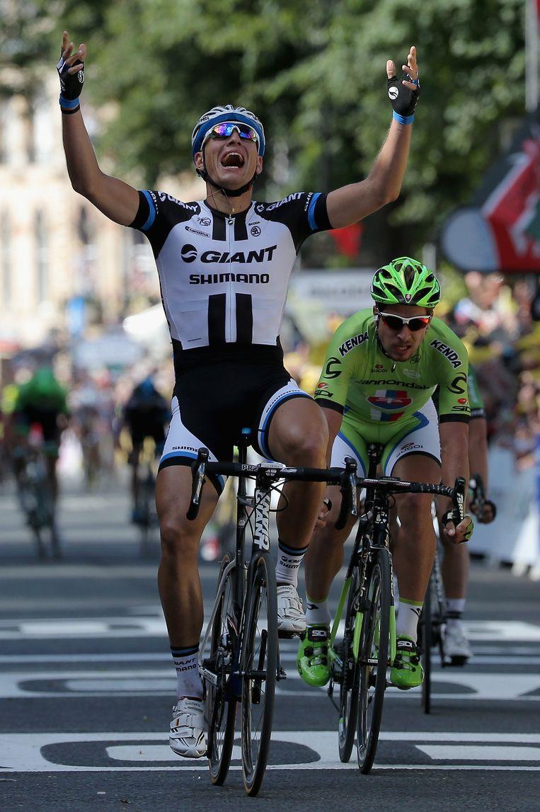 De Duitser Marcel Kittel won gisteren de eerste etappe, in zijn kielzog Peter Sagan. Wint de Slowaak vandaag? Beeld null