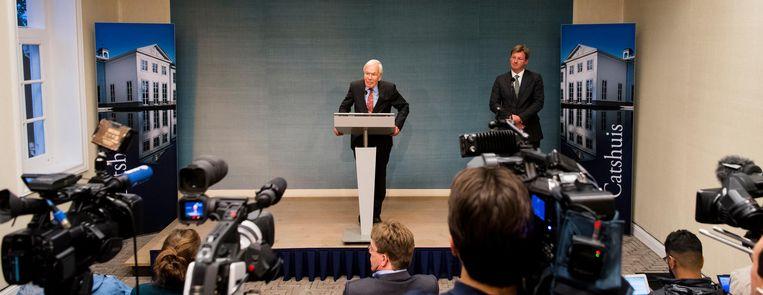 Informateur Tjeenk Willink geeft een toelichting op het mislukken van de formatiepoging van een meerderheidscoalitie van VVD, CDA, D66 en GroenLinks. Beeld ANP