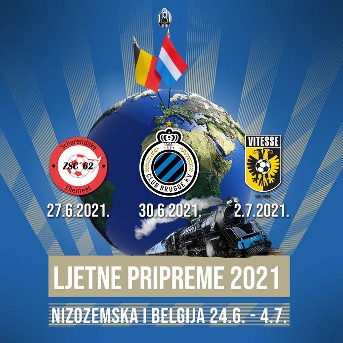 Een affiche van Lokomotiv Zagreb, met daarop de drie oefenwedstrijden. ZSC'62 staat in een mooi rijtje met Club Brugge en Vitesse.