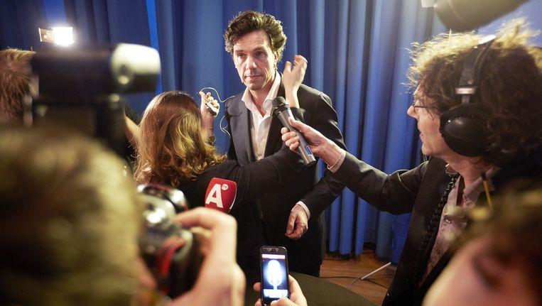 Pieter Hilhorst, voormalig lijsttrekker van de Pvda in Amsterdam, op de avond van de verkiezingen. Beeld anp
