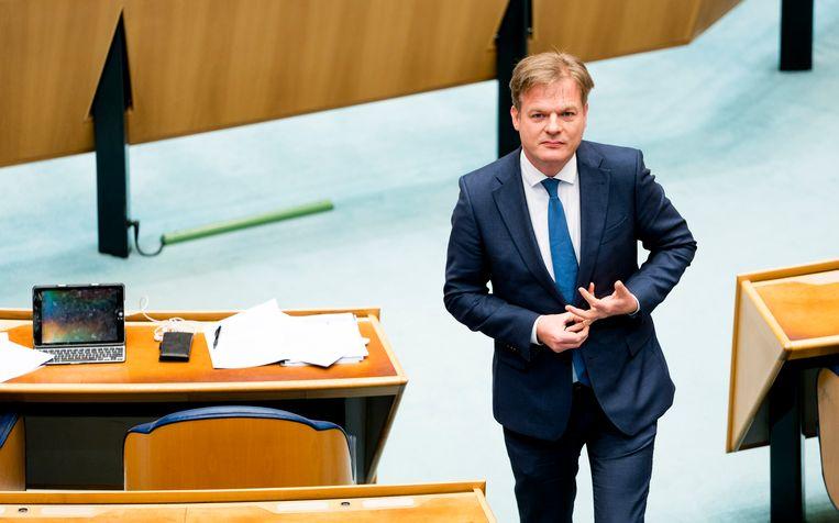Pieter Omtzigt (CDA) tijdens een debat over het stopzetten van de kinderopvangtoeslag. Beeld Freek van den Bergh / de Volkskrant