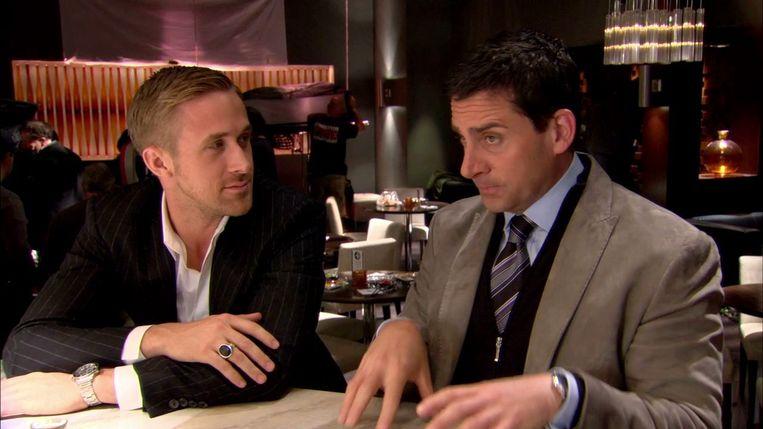 Ryan Gosling (links) en Steve Carell in Crazy, Stupid, Love. Beeld