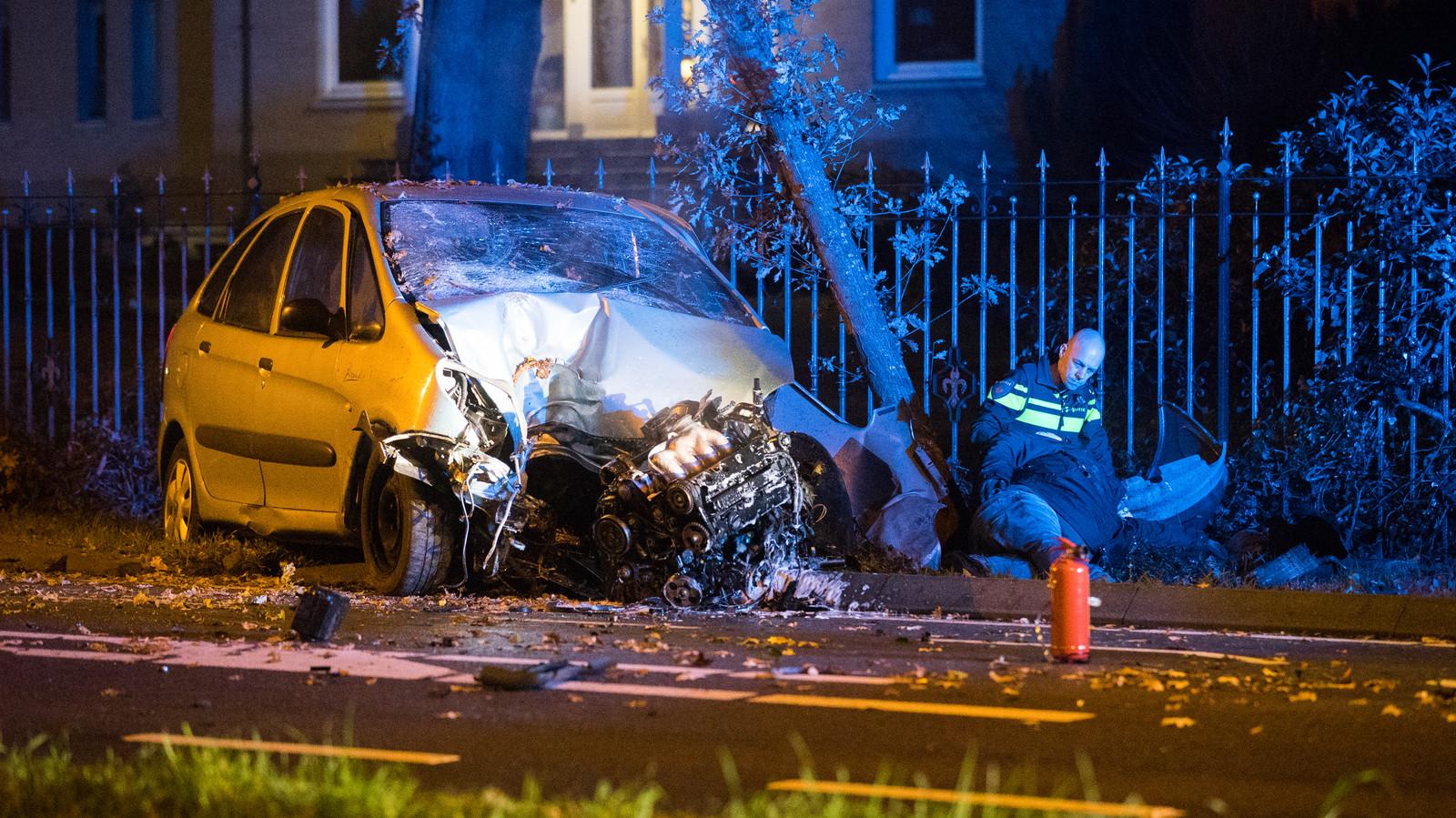 De auto kwam na de crash tegen een boom tot stilstand.