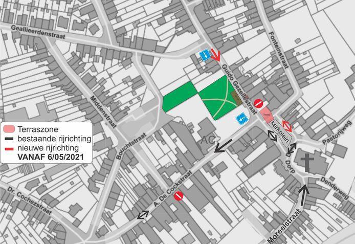 Een plannetje van de aangepaste verkeerscirculatie op het Dorp in Denderleeuw.