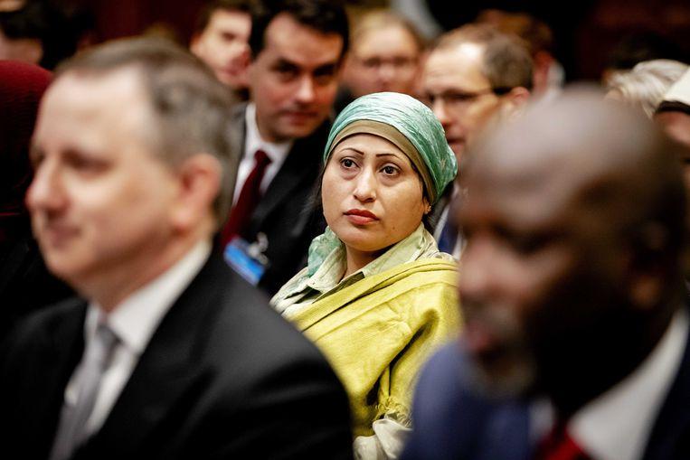 Afgevaardigden van de Rohingya-gemeenschap tijdens de uitspraak van het Internationaal Gerechtshof in de door Gambia aangespannen rechtszaak tegen Myanmar. Beeld ANP
