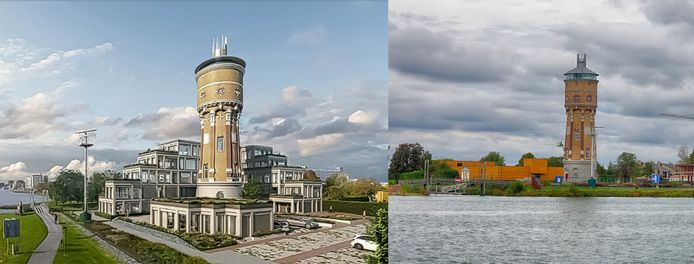Links de artist impression van de watertoren met flat, rechts de huidige situatie
