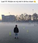 Een spelertje van VV Wodan op het veld van de Eindhovense amateurvoetbalvereniging.