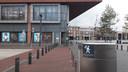 Wifi-tracking in de binnenstad van Enschede. Stickers die melding ervan maken.