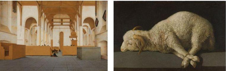 Pieter Jansz Saenredam, Interieur van de Sint-Odulphuskerk in Assendelft, 1649 en  Francisco de Zurbarán, Het Lam Gods, 1635-1640. Beeld