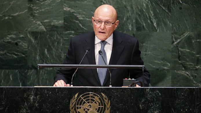 De Libanese premier Tammam Salem bij de Algemene Vergadering van de Verenigde Naties.