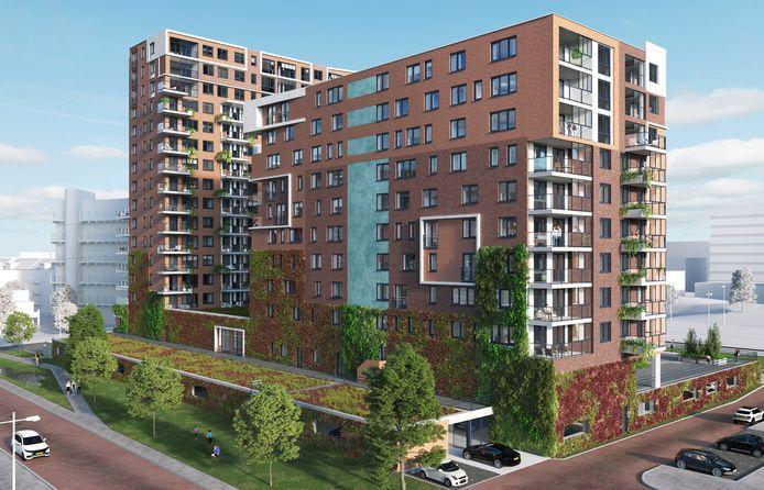 Een artist impression van nieuwbouwproject Let's go West aan het Toernooiveld in Schiedam.