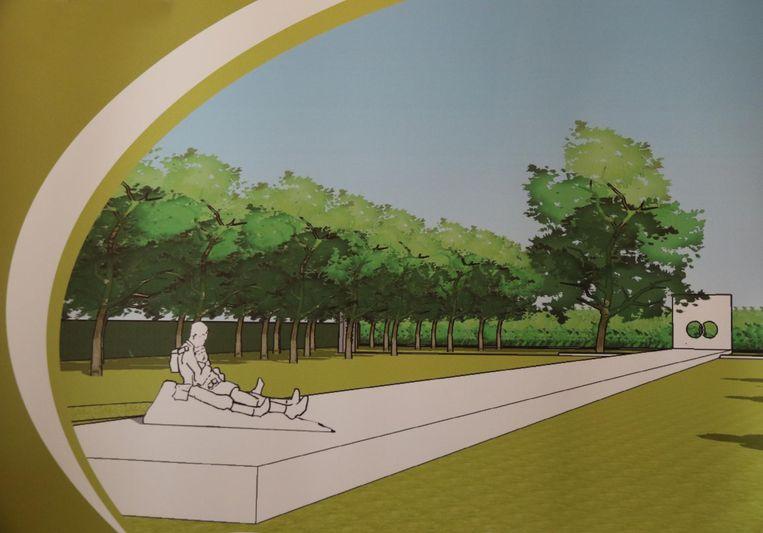 Dit is hoe het herdenkingsmonument er zal uitzien. Het monument in blauwsteen wordt liefst 66 meter lang. Het bronzen beeld prijkt op het einde van de lange sokkel.