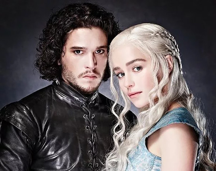 Jon Snow en Daenerys Targaryen uit Game of Thrones.