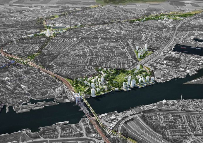 Artist's impression van de plannen voor de spoorzone in Dordrecht.