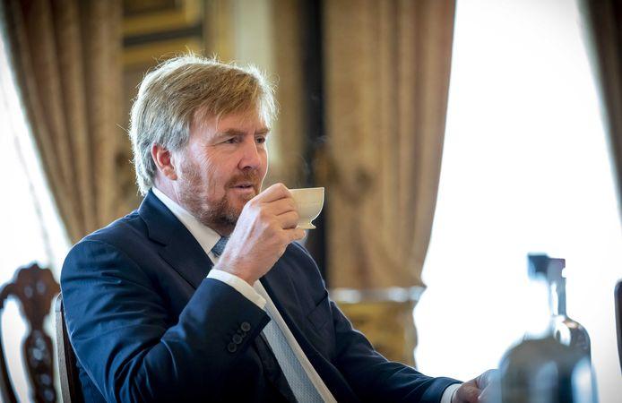 Koning Willem-Alexander op Paleis Noordeinde.