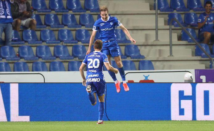 Kristian Thorstvedt en Carel Eiting vieren de 4-0.