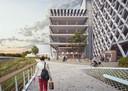 Een impressie van het toekomstige parkeergebouw op de Eandissite.