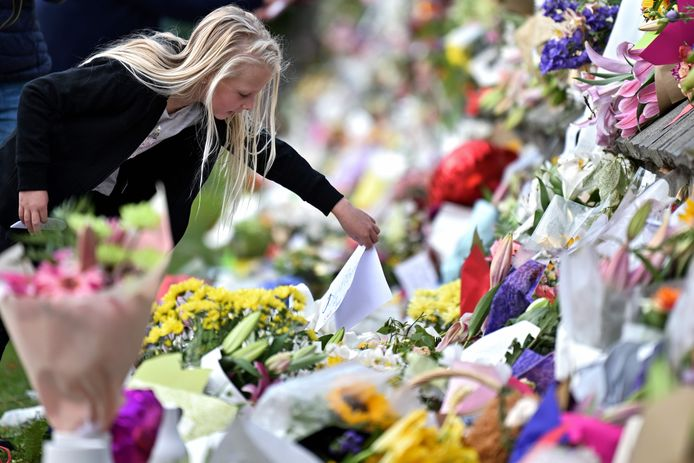 Een bloemenzee na de aanslag in Christchurch.