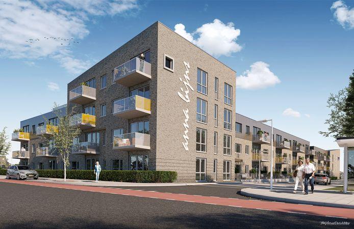 De geplande nieuwbouw op de hoek Axelsestraat-Anna Bijnsstraat in Terneuzen, vlakbij woonzorgcentrum De Blide.