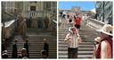Links een scene uit de populaire serie Game of Thrones en rechts dezelfde locatie in 2019.