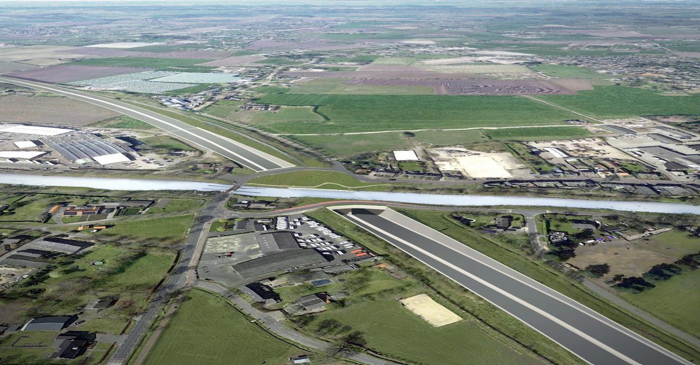 Fotomontage waarbij een aquaduct is 'ingetekend' op de A58 bij Oirschot.