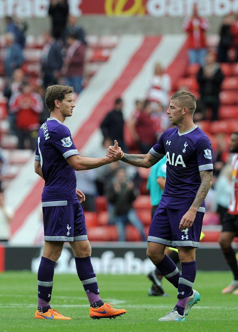 Jan Vertonghen en Toby Alderweireld vormden afgelopen seizoen een ijzersterk duo achterin bij Tottenham Beeld BELGAIMAGE