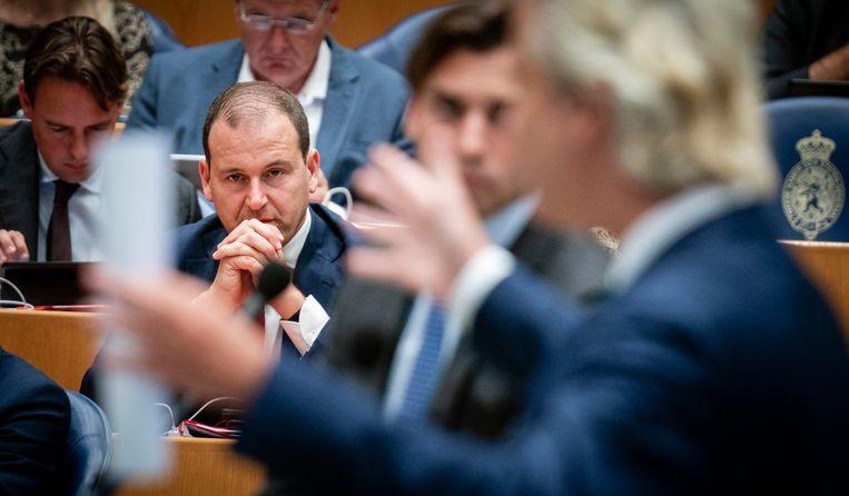 Lodewijk Asscher (PVDA) tijdens dag twee van de algemene politieke beschouwingen in de Tweede Kamer.  Beeld null